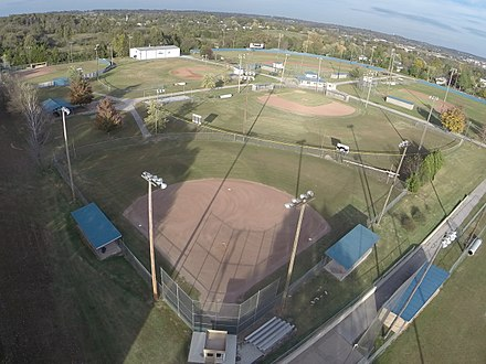 Located in Harrison, Arkansas the Equity Bank Sports Complex features state of the art baseball/softball fields. Equity Bank Sports Complex Field View Harrison, Arkansas.jpg