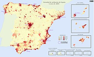 Demographics of Spain - Population density by municipality in Spain, 2008