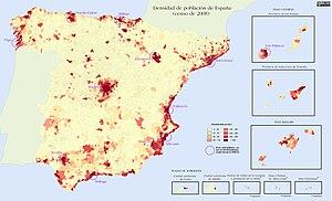 Densidad de población en España 2008 (Fuente: www.wikipedia.org)