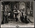 Esther swoons before Ahasuerus. Engraving by A. Coypel. Wellcome V0034398.jpg