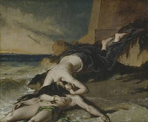 Hero, Having Thrown herself from the Tower at the Sight of Leander Drowned, Dies on his Body