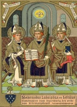 Isfrid of Ratzeburg - St. Isfrid on right, with Sts.Ludolph and Evermode