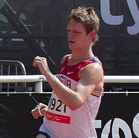 Evgenii Shvetcov of Russia during the 2013 IPC Athletics World Championships.jpg