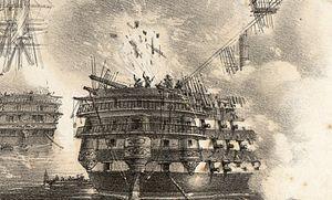 French ship Ville de Paris (1851) - Explosion of a Russian shell on Ville de Paris.