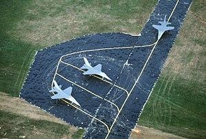 Military dummy - F-16 mockups on a fake taxiway at Spangdahlem Air Base, 1985.