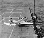 F2H-3 Banshee of VF-141 on USS Kearsarge (CVA-33) c1956.jpg