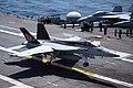 FA-18E Super Hornet of VFA-14 lands aboard USS John C. Stennis (CVN-74) in the Pacific Ocean on 8 August 2018 (180808-N-ER806-0346).JPG