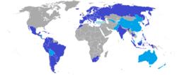 Mapa členských státůtmavě modrá - řádní členovémodrá - asociovaní členovésvětle modrá - přidružené státy