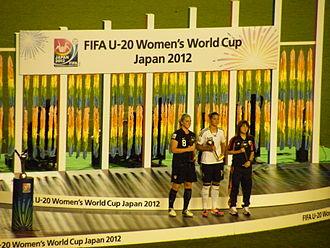 2012 FIFA U-20 Women's World Cup - L-R: Julie Johnston (Bronze Ball), Dzsenifer Marozsán (Golden Ball) and Hanae Shibata (Silver Ball).