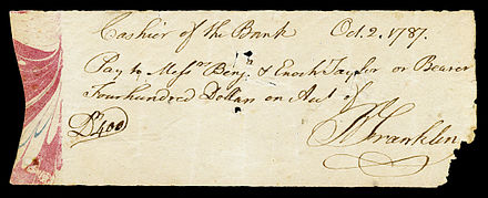 Franklin autograph check signed during his Presidency of Pennsylvania FRANKLIN, Benjamin (signed check).jpg