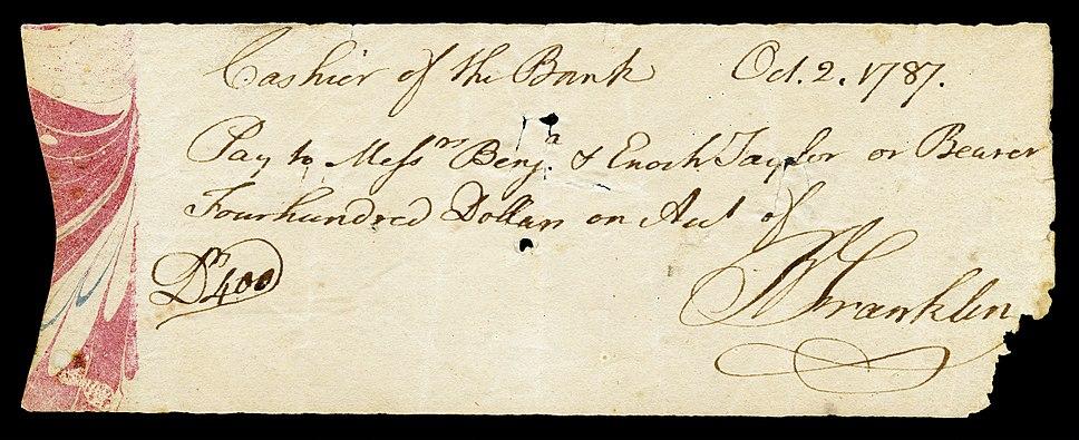 FRANKLIN, Benjamin (signed check)