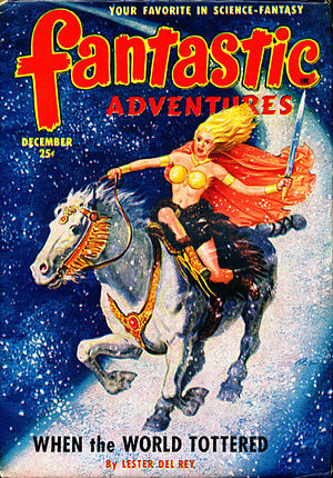 "Lester del Rey - del Rey's novella ""When the World Tottered"" was the cover story in the December 1950 issue of Fantastic Adventures, illustrated by Robert Gibson Jones"