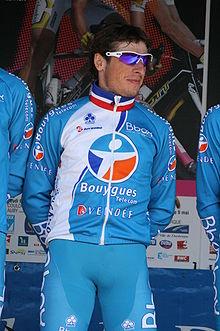 Photographie présentant Pierrick Fédrigo, vainqueur de Grand Prix de Plouay en 2008 et de plusieurs étapes du Tour de France.