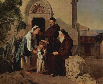Adoption -  At the monastery gate (Am Klostertor) by Ferdinand Georg Waldmüller