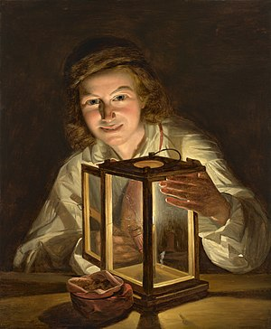 Ferdinand Georg Waldmüller - Self-portrait with a Lantern, 1825