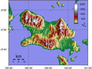 Fergusson Island - Topographical map of Fergusson Island.