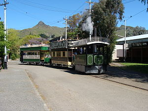 Christchurch tramway system - Kitson no. 7 hauling two trailers around the township loop at the Ferrymead Heritage Park.