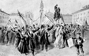 Statuto Albertino - Celebrations in Turin for the proclamation of the Albertine Statute, in 1848.