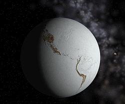 Représentation d'une glaciation majeure, formant une «Terre boule de neige».