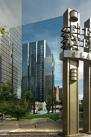 Fifth Avenue Place (Calgary) - The East Tower reflecting the West Tower