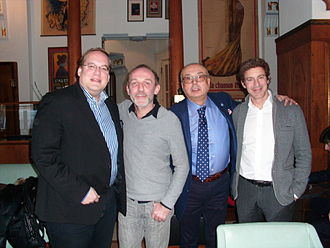Filip Albrecht - Filip Albrecht, Karl Markovics, Peter Kovárčík and Gedeon Burkhard at the The Devil's Mistress press conference in Prague, 2015