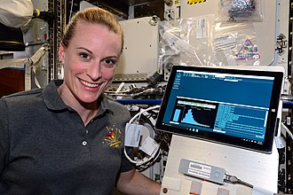 DNA sequencer - Oxford Nanopore MinION sequencer (lower right) was used in the first-ever DNA sequencing in space in August 2016 by astronaut Kathleen Rubins.