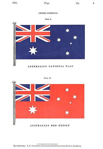 Flag of Australia - The Flags Act 1953 specified the Blue Ensign as the Australian National Flag and the Red Ensign as the merchant shipping flag.
