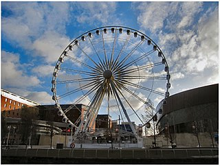 Wheel of Liverpool Ferris wheel on the Keel Wharf waterfront of the River Mersey in Liverpool.