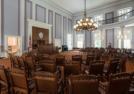 The restored House Chamber in 2016. Former House Chamber, Alabama State Capitol 20160713 2.jpg