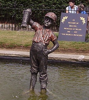 The Boy with the Leaking Boot - Statue in Cleethorpes, England