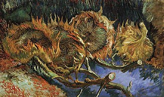 Sunflowers (Van Gogh series) - Sunflowers (F452), Oil on canvas, 60 × 100 cm, Kröller-Müller Museum, Otterlo