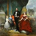 François-René Moreaux - O imperador D. Pedro II, sua esposa Teresa Cristina e suas filhas, princesas Isabel e Leopoldina, 1857.JPG
