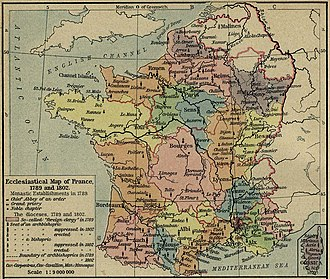 Ancien Régime - Dioceses of France in 1789.