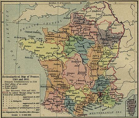 Ecclesiastical provinces (colored) and dioceses of France in 1789
