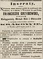Franciszek Grzybowski ogłoszenie o otwarciu księgarni Czas nr 196 1862-08-27.jpg