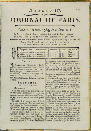 Bagatelles and Satires - Image: Franklin Benjamin Journal de Paris 1784