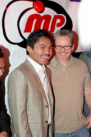 English: Freddie Roach and Manny Pacquiao at t...