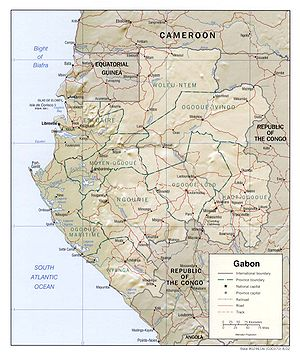 Outline of Gabon - An enlargeable relief map of Gabon