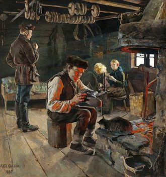 Finns - 19th century Fennomans consciously sought to define the Finnish people through depiction of the common people's everyday lives in art, such as this painting by Akseli Gallen-Kallela.