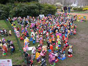 Garden gnomes gathered in Floriade, Canberra