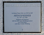 Berlin memorial plaque, Arthur Werner, Köhlerstraße 22, Berlin-Lichterfelde, Germany