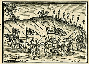 Slavery in the Ottoman Empire - Ottomans with Christian slaves depicted in a 1608 engraving published in Salomon Schweigger's account of a 1578 journey.