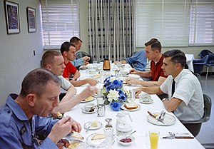 Project Gemini - Gemini 8 prime crew and other astronauts at prelaunch breakfast, 1966