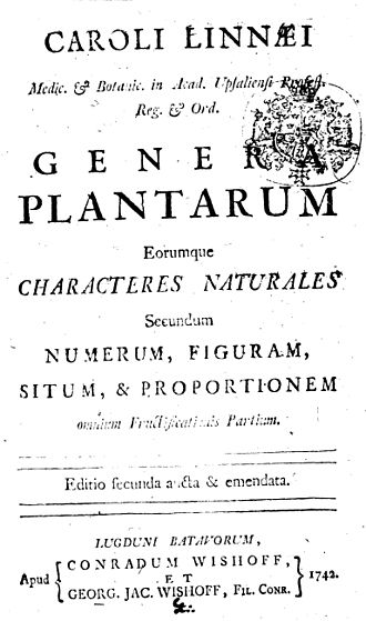 Genera Plantarum - Title page of the second edition of Linnaeus's Genera Plantarum, Leiden, 1742