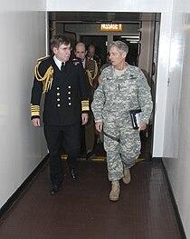 General Walter L. Sharp walks with Sea Lord Admiral, Sir Mark Stanhope.jpg
