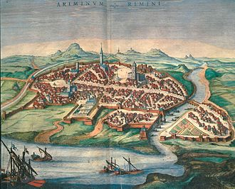 Rimini - View of Rimini, engraving by Georg Braun (1572)