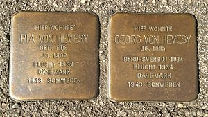 George de Hevesy - Stolpersteine for Georg and his wife Pia de Hevesy