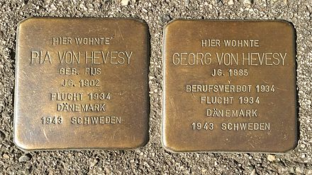 Stolpersteine for Georg and his wife Pia de Hevesy Georg und Pia von Hevesy Stolpersteine.jpg