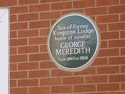 Photo of George Meredith and Kingston Lodge green plaque