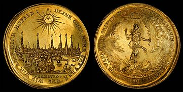 Hamburg depicted on a 1679 Half-portugalöser (5 ducats)